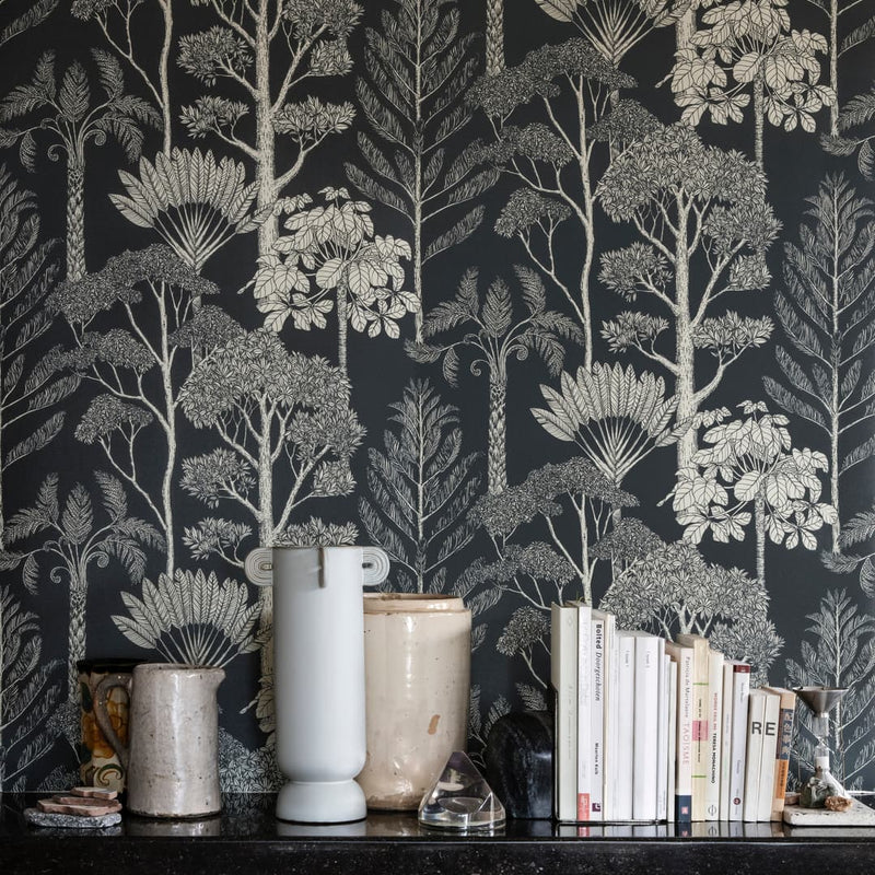 Ferm LivingKatie Scott Wallpaper Trees Deep Petrol - Batten Home