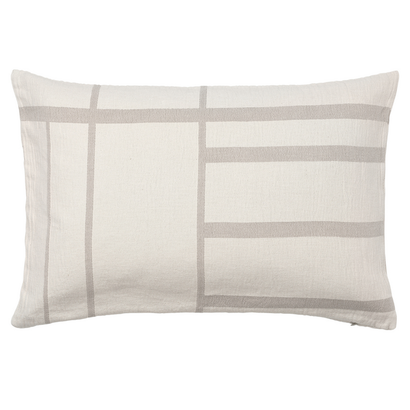 The Kristina Dam Architecture Cushion is the perfect addition to a seating area or sofa. Its modern and simple design mimics clean lines of city scapes, and is made of 100% organic cotton making it perfect for style and comfort in the living room or bedroom.  This designer cushion looks great when paired with other Architecture Cushions in varying colors and sizes long a bed or sofa, and even solo in an oversized lounge chair. The Kristina Dam Architecture Cushion is available in four neutral colourways and