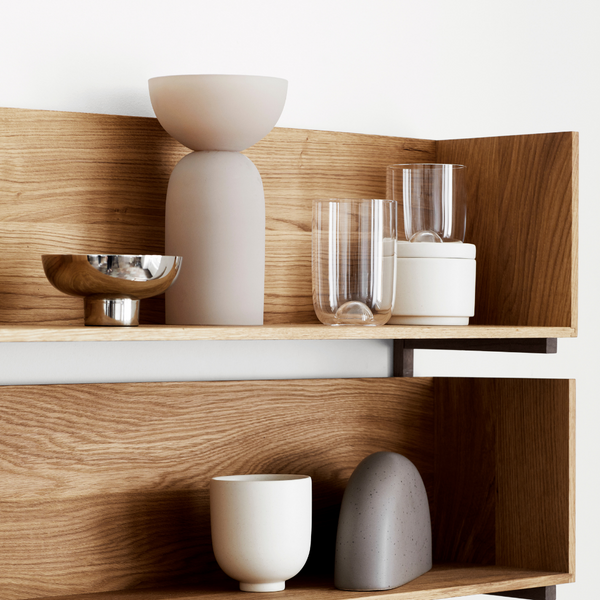 The Setomono Container Set in Small by Kristina Dam is a set of two individual containers that can be stacked or styled separately.  This set is equally gorgeous when styled on open shelving or when being used on the dining room table to house dried spices or salts. It can also be used on a bedside table to hold treasured trinkets or everyday accessories.