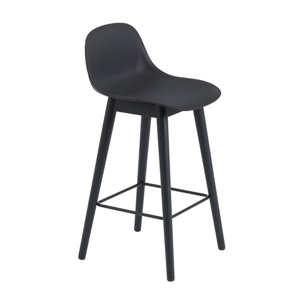 MuutoFiber Bar Stool with Backrest - Wood Base - Batten Home
