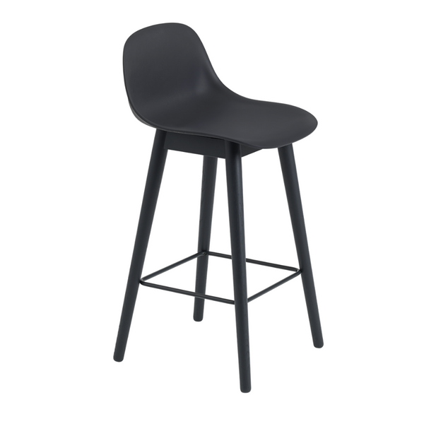 MuutoFiber Counter Stool with Backrest - Wood Base - Batten Home