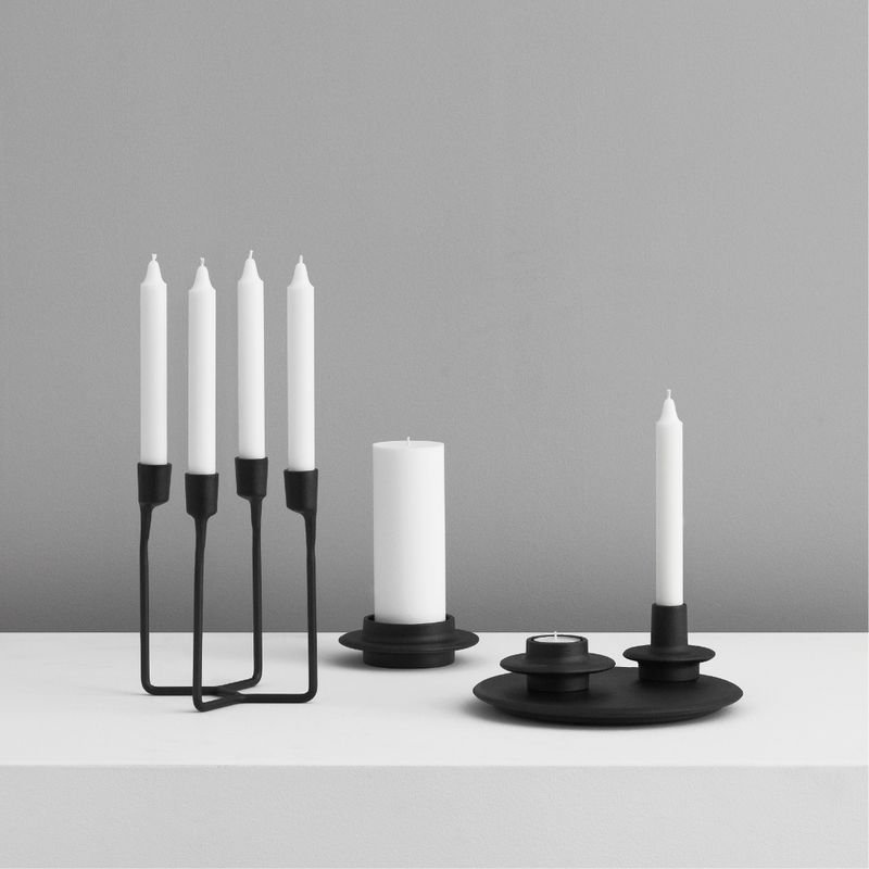 The Normann Copenhagen Heima 4-armed Candlestick in Black is the perfect addition to a well-styled home. We love it styled as a dining room centerpiece or on an entryway table. Paying homage to industrial, Nordic design - the Heima is sculptural yet minimalistic.  The Heima is special enough for celebrations but simple and stylish enough for everyday use. Made of cast iron, this decor piece is made to last and will be one of your favorite candle holders.