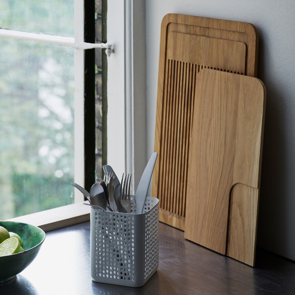 The Part Cutting Boards by Normann Copenhagen were created in collaboration with designer Simon Legald. Each has its own unique design which also allows them to look great when styled solo or in sets. Simple, yet stunning design makes these oak cutting boards kitchen essentials for the modern home.