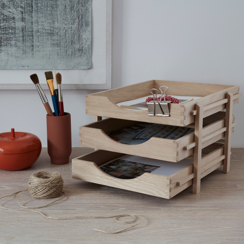 The Dania Letter Tray by Skagerak is a stunning, all natural oak filing system that fits perfectly atop a desk or work station. Constructed of three trays that build upon each other gradually - but can easily be grabbed if you need to transport your to-do pile on the go.