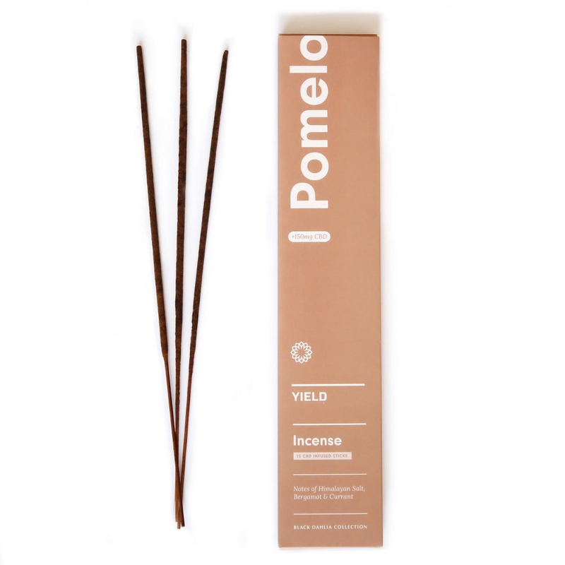 The Pomelo Incense +CBD by Yield Design is a fresh and familiar scent, with notes of currant, bergamot and Himalayan salt. We love this scent when used in common spaces of the home like the living room, kitchen, sunroom or office. The organic CBD burns cleanly, vaporizing and providing many benefits through aromatherapy.