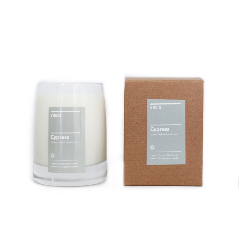 The Cypress Candle by Yield Design celebrates the great outdoors, with noted of Spanish Moss, Juniper and Ceylon. We love this scent when used in common spaces of the home like the living room, sunroom or office. The organic CBD burns cleanly, vaporizing and providing many benefits through aromatherapy.