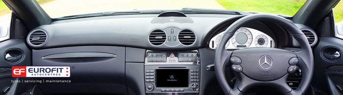 Inside car dashboard and steering wheel