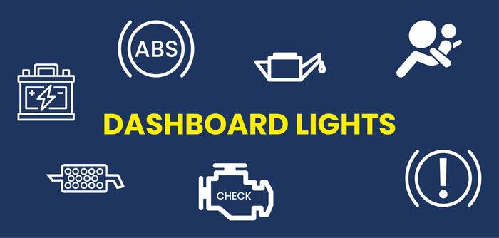 Dashboard lights text with blue background and various icons in white