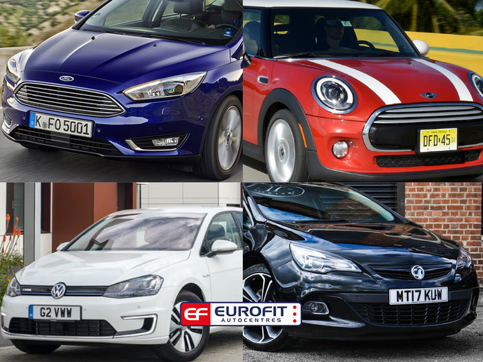 Collage of 4 cars in blue, red, white and black
