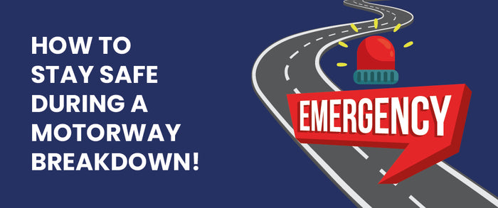 Blue background with cartoon road and emergency sign in red