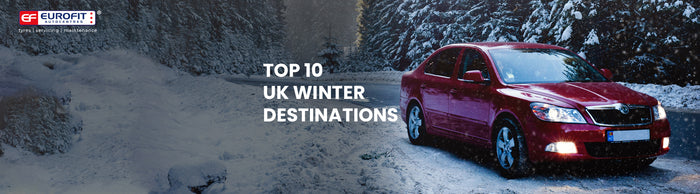 Red car on snow ground with snow filled trees, and text about winter destinations