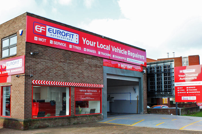 Eurofit Autocentres in Stafford now open outside view of car garage