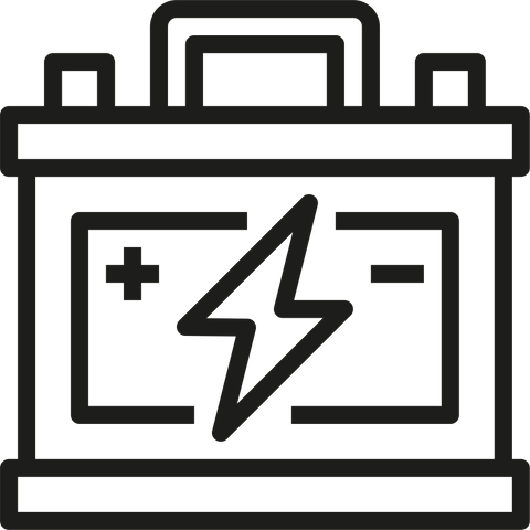 Battery icon with lightning bolt in black