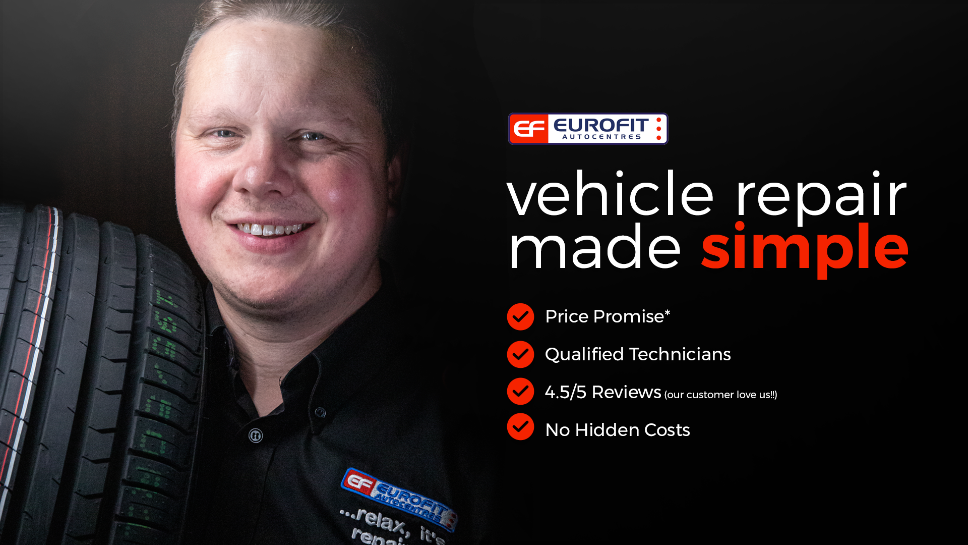 eurofit autocentres, vehicle repair made simple, price promise, qualified technicians, no hidden costs, great reviews