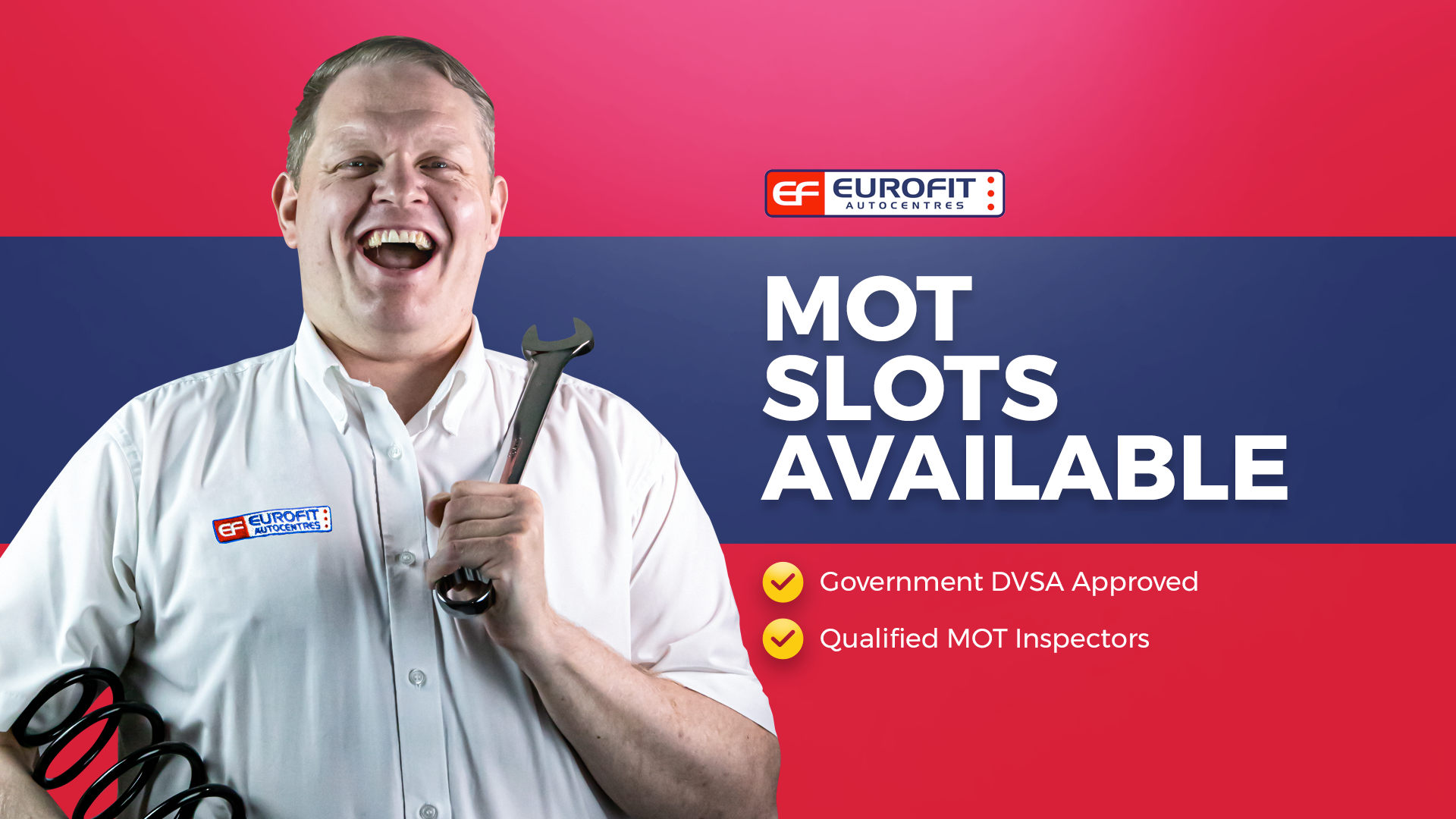 MOT slots available, eurofit autocentres, government approved DVSA, qualified MOT inspectors