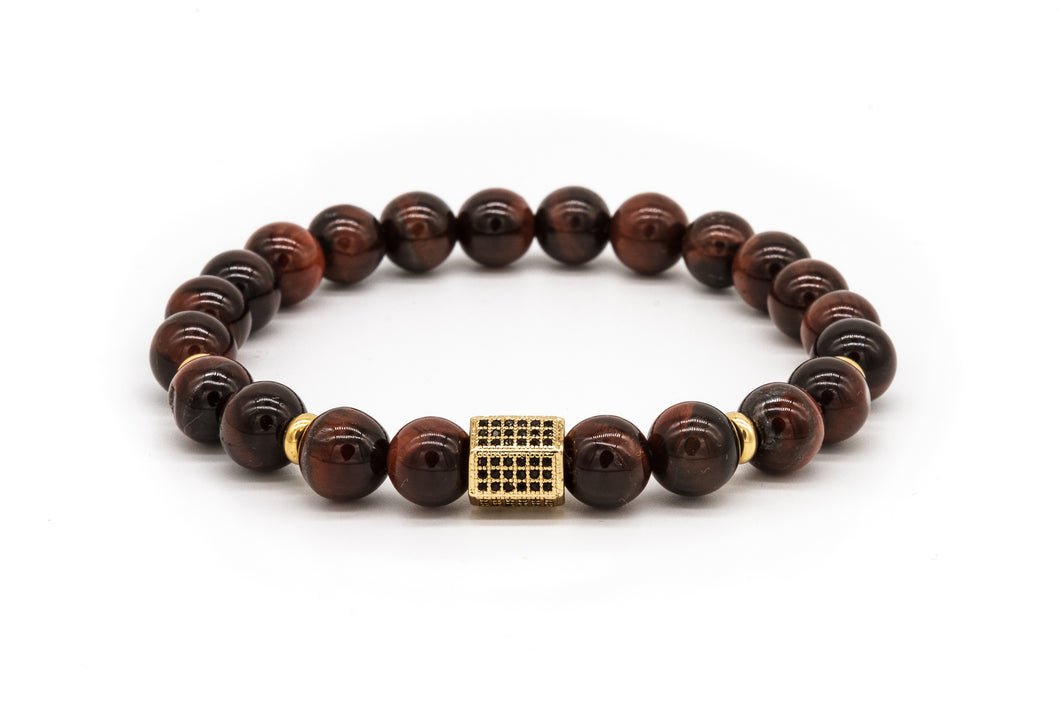 UNCOMMON Men's Beads Bracelet One Gold Jeweled Chest Charm Tiger-eye Beads