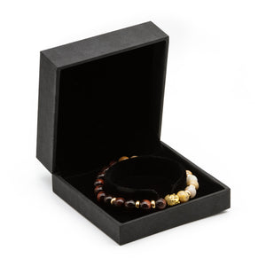 UNCOMMON Men's Beads Bracelet One Gold Buddha Head Charm Tiger-Eye Beads