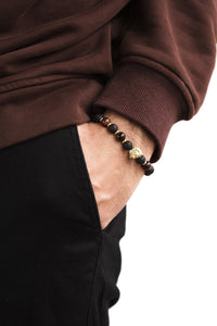 Load image into Gallery viewer, UNCOMMON Men's Beads Bracelet One Gold Lion Charm Onyx and Tiger-Eye Beads