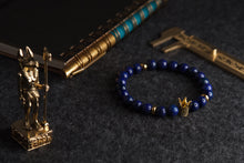 Load image into Gallery viewer, UNCOMMON Men's Beads Bracelet One Gold Jeweled Crown Charm Blue Jasper Stone Beads
