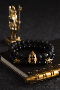 UNCOMMON Men's Beads Bracelet One Gold Jeweled Warrior Charm Black Lava Beads
