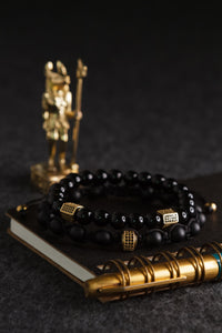 Load image into Gallery viewer, UNCOMMON Men's Beads Bracelet Two Gold Jeweled Chest Charm Black Gloss Onyx Beads