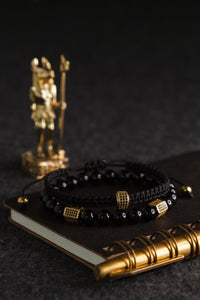 UNCOMMON Men's Woven Bracelet with Single Gold Charm and Accent Beads