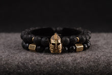 Load image into Gallery viewer, UNCOMMON Men's Beads Bracelet One Gold Jeweled Warrior Charm Black Lava Beads