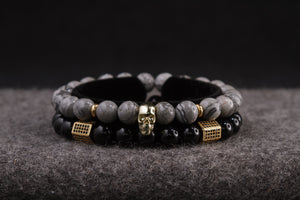 UNCOMMON Men's Beads Bracelet One Gold Skull Charm Grey Jasper Beads