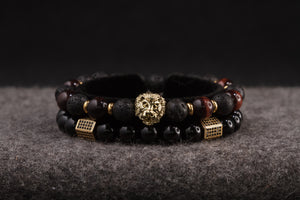 UNCOMMON Men's Beads Bracelet One Gold Lion Charm Onyx and Tiger-Eye Beads