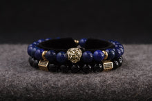 Load image into Gallery viewer, UNCOMMON Men's Beads Bracelet One Gold Lion Charm Blue Jasper Beads