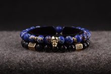 Load image into Gallery viewer, UNCOMMON Men's Beads Bracelet One Gold Skull Charm Blue Jasper Beads