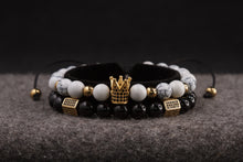 Load image into Gallery viewer, UNCOMMON Men's Beads Bracelet One Gold Jeweled Crown Charm White Jasper Beads