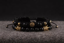 Load image into Gallery viewer, UNCOMMON Men's Beads Bracelet One Gold Jeweled Globe Charm Black Onyx Beads