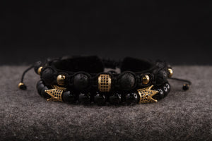 UNCOMMON Men's Beads Bracelet Two Gold Crown Charms Black Onyx Beads