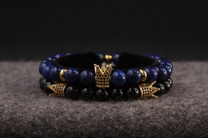 UNCOMMON Men's Beads Bracelet One Gold Jeweled Crown Charm Blue Jasper Stone Beads