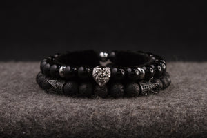 UNCOMMON Men's Beads Bracelet One Silver Lion Charm Onyx Beads