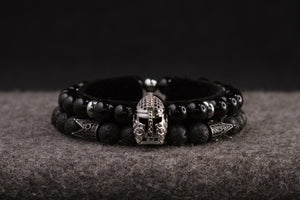UNCOMMON Men's Beads Bracelet One Silver Jeweled Warrior Charm Black Onyx Beads