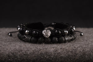 UNCOMMON Men's Beads Bracelet One Silver Lion Charm Black Onyx Beads