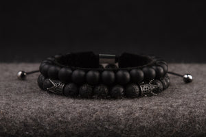 UNCOMMON Men's Beads Bracelet Black Matte Onyx Beads