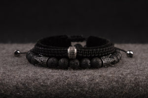UNCOMMON Men's Woven Bracelet with Single Silver Charm and Accent Beads