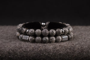 UNCOMMON Men's Beads Bracelet Two Silver Jeweled Chest Charms Grey Jasper Beads