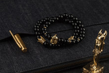 Load image into Gallery viewer, UNCOMMON Men's Beads Bracelet Two Gold Crown Charms Black Onyx Beads