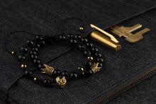 Load image into Gallery viewer, UNCOMMON Men's Beads Bracelet One Gold Lion Charm Black Onyx Beads