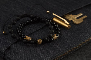 UNCOMMON Men's Beads Bracelet One Gold Jeweled Ring Charm Black Matte Onyx Beads