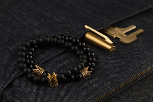 UNCOMMON Men's Beads Bracelet One Gold Jeweled Crown Charm Black Matte Onyx Beads