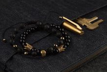 Load image into Gallery viewer, UNCOMMON Men's Beads Bracelet One Gold Jeweled Ring Charm Black Lava Beads