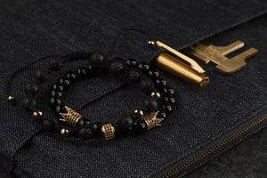 UNCOMMON Men's Beads Bracelet One Gold Jeweled Ring Charm Black Lava Beads