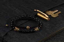 Load image into Gallery viewer, UNCOMMON Men's Woven Bracelet with Single Gold Charm and Accent Beads