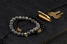 Load image into Gallery viewer, UNCOMMON Men's Beads Bracelet One Gold Skull Charm Grey Jasper Beads
