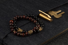 Load image into Gallery viewer, UNCOMMON Men's Beads Bracelet One Gold Jeweled Chest Charm Tiger-eye Beads
